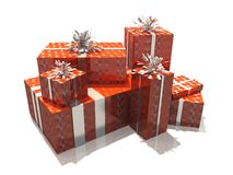 Happy birthday. 3d render of a group of red gifts Royalty Free Stock Images