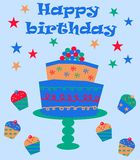 Happy birthday. Card with cake and cupcakes Royalty Free Stock Photo
