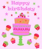 Happy birthday. Card with cake and cupcakes Royalty Free Stock Images
