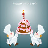 Happy birthday. Birthday card with two confectioners and cake Stock Images