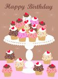 Happy birthday. Card with lot of delicious cupcakes Stock Photo