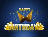 Happy birthday. Logo sign with golden stars ans rays of light and party hats Stock Photography