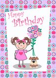 Happy birthday. Card with a little girl and a dog Stock Image