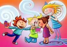 Happy birthday. This is a raster illustration, of a children who enjoy in birthday party Royalty Free Stock Photo