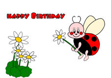 Happy Birthday. Card with ladybird Royalty Free Stock Photography