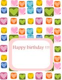 Happy birthday. Illustration birthday card with heart background and place for text Royalty Free Stock Image