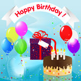 Happy Birthday!. A festive design with cake, gift and balloons Royalty Free Stock Photos