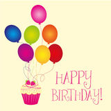 Happy birthday. With balloons and cupcake over beige background. vector Stock Images