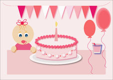 Happy birthday. For girl  illustration Royalty Free Stock Images