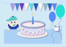 Happy birthday. For boy  illustration Stock Photography