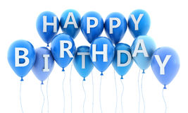 Happy birthday. Ballon fly and note birthday (done in 3d Royalty Free Stock Photos