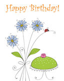 Happy Birthday. Birthday greeting card with flowers and a marzipan cake Stock Image