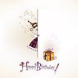 Happy birthday. Festive happy birthday postcard with funny girl character Royalty Free Stock Photo