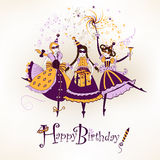 Happy birthday. Festive happy birthday postcard with funny girls characters Royalty Free Stock Photos