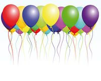 Happy birthday. Illustration of colorful balloons symbolic of birthday Stock Photos