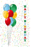 Happy birthday. Illustration of balloons with a happy birthday greeting Stock Photography