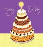 Happy Birthday. Vector postcard with a picture of a large cake on a plate Stock Images
