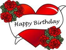 Happy birthday. A happy birthday illustration with heart and roses Stock Photo