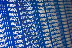 Happy birthday!. E-mail with repeated text Stock Photography