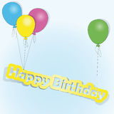 Happy Birthday. Four colored balls rousing words happy birthday Royalty Free Stock Images