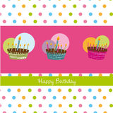 Happy birthday. Card with cakes. vector illustration Royalty Free Stock Image