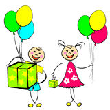 Happy Birthday. Image of a boy and a girl with gifts and balloons Stock Images
