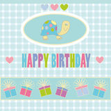 Happy birthday. Illustration of birthday card with turtle, hearts and gifts on abstract background Royalty Free Stock Photo