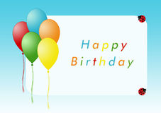 Happy Birthday. Card for happy birthday with balloons Royalty Free Stock Image
