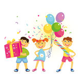 Happy Birthday. Merry friends with balloons, gifts, confetti, Happy Birthday Royalty Free Stock Photography