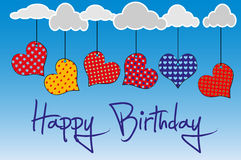 Happy Birthday. Birthday card with colored hearts Stock Photography