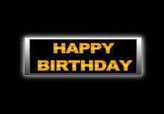 Happy birthday. Illustration with Illuminated neon sign with Happy birthday stock illustration