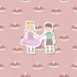 Happy birthday. Boy and girl are celebrating happy birthday Stock Photography