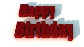 Happy birthday. 3d text happy birthday and white backgound Stock Image