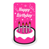 Happy Birthday. Pink birthday cake with candles Stock Images