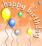 Colorful Happy birthday greeting card with balloons. Nice happy birthday greeting card with hearts and gifts Stock Photos