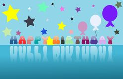 Colorful Happy birthday greeting card with balloons Royalty Free Stock Image