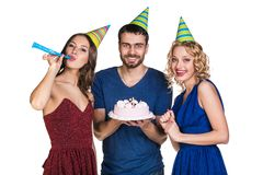Happy Birthday. Group of friends with cake celebrate happy birthday. Isolated royalty free stock photography