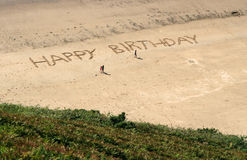 Happy birthday. Written in the sand in huge letters stock photo