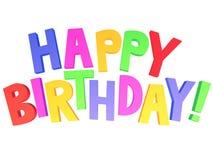 Happy birthday 3d graffiti. Happy birthday graffiti  white background Stock Photo