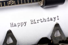 Happy Birthday. Typewriter close up shot, concept of Happy Birthday Stock Images