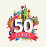 Happy birthday 50 year german greeting card Stock Photo