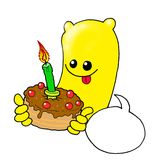 Happy birthday. Cute monster with birthday cake Stock Images