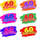 Happy birthday 60 hand drawn Royalty Free Stock Image