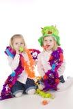 Happy birthday. Two twin sisters celebrating their birthday royalty free stock photo