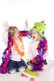 Happy birthday. Two twin sisters celebrating their birthday stock photography