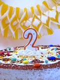 Happy birthday. Birthday cake with number two candle Stock Images