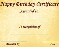 Happy birthday. Certificate with some stains on it Royalty Free Stock Photo