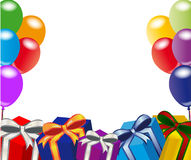 Happy Birthday. Decoration for birthday and party with balloons and gifts Royalty Free Stock Photos