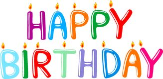 Happy birthday. Candles with letters Stock Photo