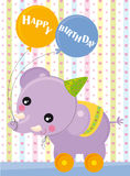 Happy birthday. Birthday card with elephant and balloons